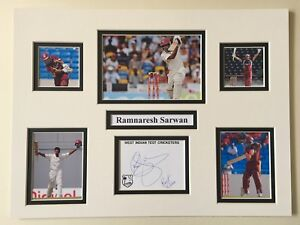West-Indies-Cricket-Ramnaresh-Sarwan-Signed-16-034-X-12-034-Double-Mounted-Display