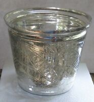 4 Pottery Barn Etched Kingsley Mercury Glass Cachepot Coll Large Bowl Vase