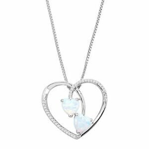 3/8 ct Created Opal Duo & 1/10 ct Diamond Heart Pendant in Sterling Silver
