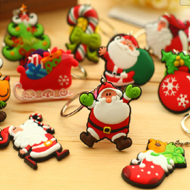 2PCS Cute Keychain Cartoon Santa Tree Christmas Funny Key Ring Chain Party Gifts