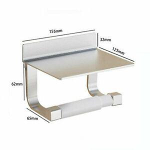 Details zu Toilettenpapierhalter Wall Mount Toilette Badezimmer Zubehör  ohne Bohren Silber