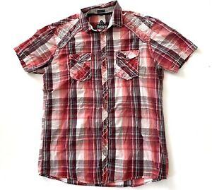 Roar-Strength-Refined-Mens-Red-Plaid-Short-Sleeve-Western-Button-Down-Shirt-XL
