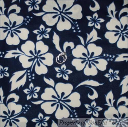 BonEful Fabric FQ Cotton Decor Quilt Navy Blue White Flower Large Hibiscus Beach