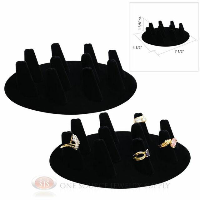 """(2) 1 3/8"""" Ten Finger Black Velvet Oval Ring Display Jewelry Presentation"""