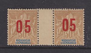 Malagasy-Maury-120a-MLH-1912-05-narrow-amp-wide-spacing-surcharge-millesime