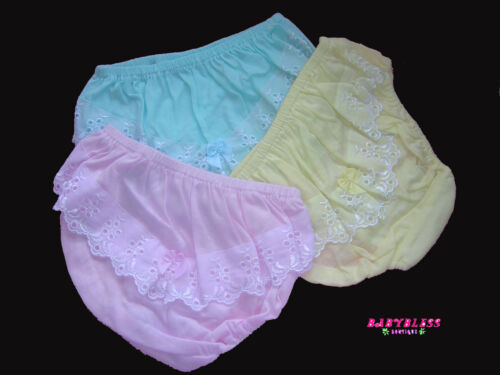 Toilet Training NEW Baby Girls Mix 3 Bloomers//Nappy Cover Fit Newborn-Big Girls