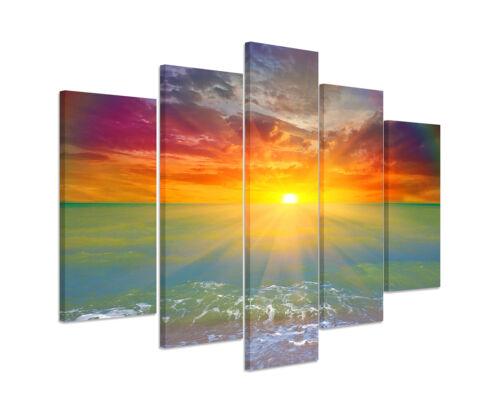 Wandbild Naturfotografie Sonnenaufgang am Strand mit Iris auf Leinwand