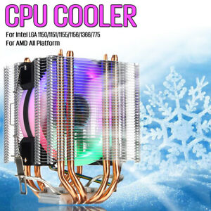 CPU-Cooler-4Pipe-4Pin-LED-RGB-90MM-Fan-For-Intel-LGA-775-1155-1156-1150-1366-AMD