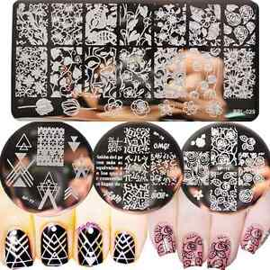 4Pcs-Set-Born-Pretty-Nail-Art-Stamping-Plates-Geometry-Leaves-Stamp-Templates