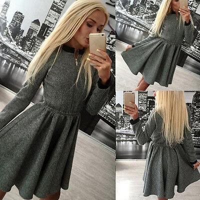 Winter Dress Women Dress Party Dress Long Sleeve Dress A-Line Short Dress Solid