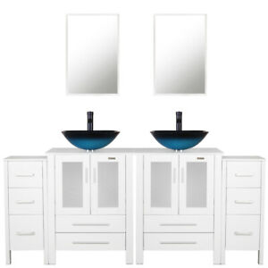 Details about 72 inch Bathroom Vanity W/ Small Cabine Mirror W/Glass Vessel  Sink Faucet Draint