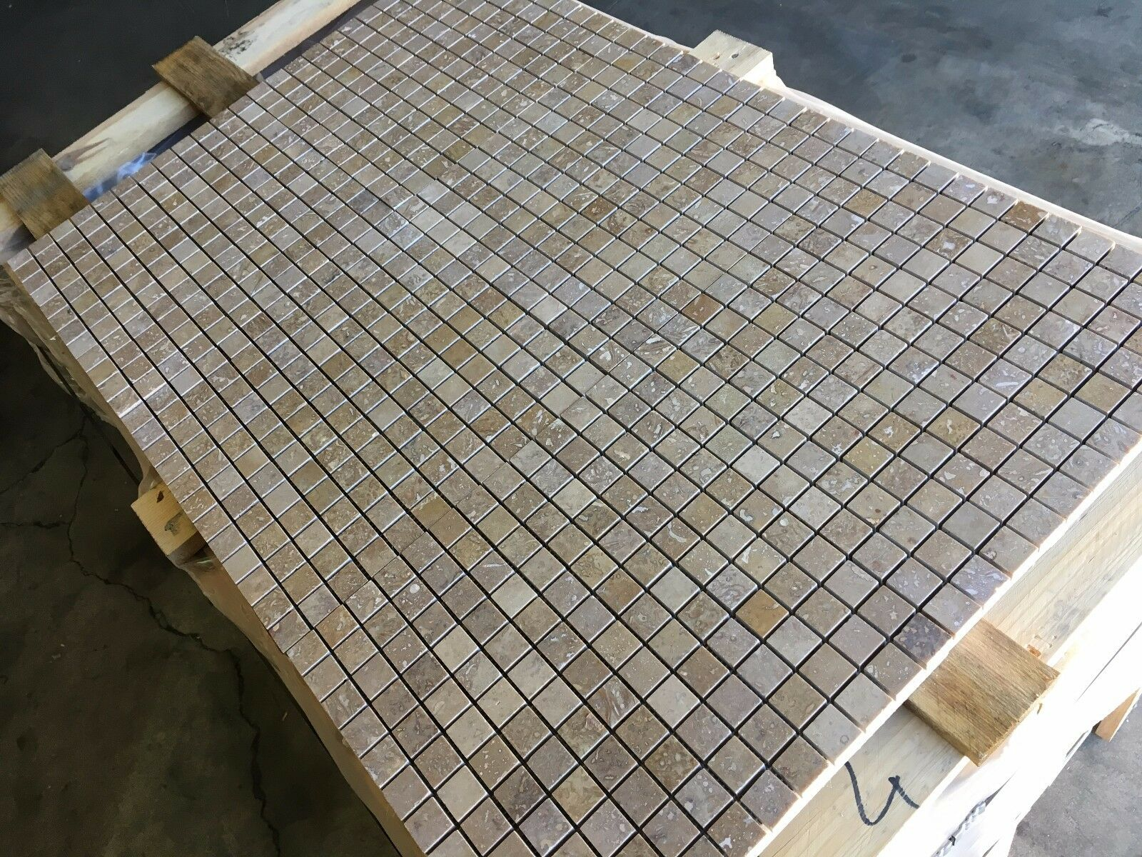 TraGrünine Mosaic, Noce Honed Filled Mosaic Tiles, 25X25MM  Mosaics