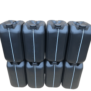 8 x 25 litre 25L 25000 ml new plastic bottle jerry can water container black