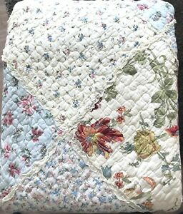 Plaid-Quilt-Tagesdecke-Patchwork-Stil-rosa-blau-Rosen-Landhaus-240-x-260-cm