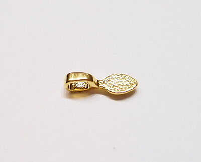 20 Small Gold Plated Oval Glue on Bails, for Pendants, Cameos, Cabochons, Glass