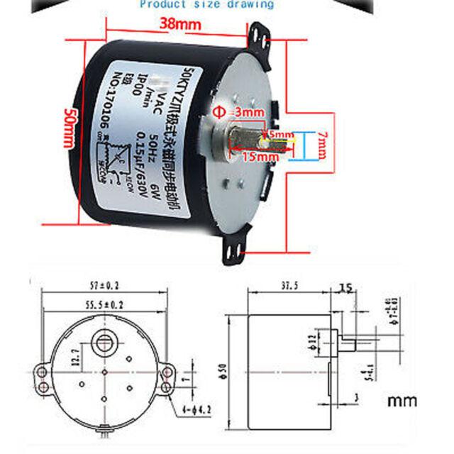 Synchronous Motor 50KTYZ AC 110V 120V 50//60Hz 20rpm//m CW//CCW 6W Torque 3.5kgf.cm