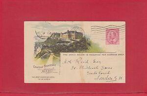 Chateau Frontenac 1907 CPR railway post card to ENGLAND from Canada