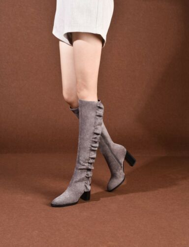 dames de genou mode la en Talon de au bottes des cuir de femmes bas 4xaa8w
