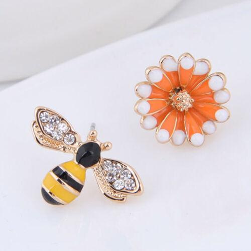 1 Paire Abeille Fleur Asymétrique Clous Boucle d/'oreille émail d/'oreille Stud Girls Fashion Jewelry