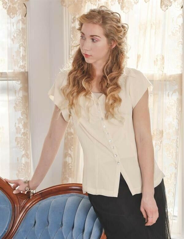 Victorian Trading Co Ivory Swallowtail Collar Button Up Blouse Shirt XL
