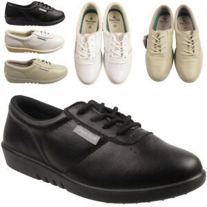 LADIES-100-LEATHER-TRAINER-SNEAKERS-LACE-UP-SPORTS-SCHOOL-CASUAL-WOMENS-SHOES