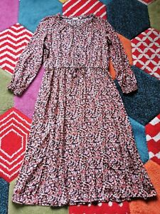 Fat Face Size 16 Black Pink Floral Midi Dress