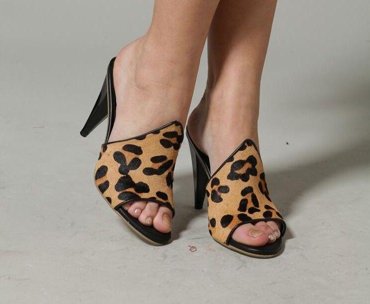 elegantes zapatillas sandalias detalles mode animal talón 8 cm código 8313