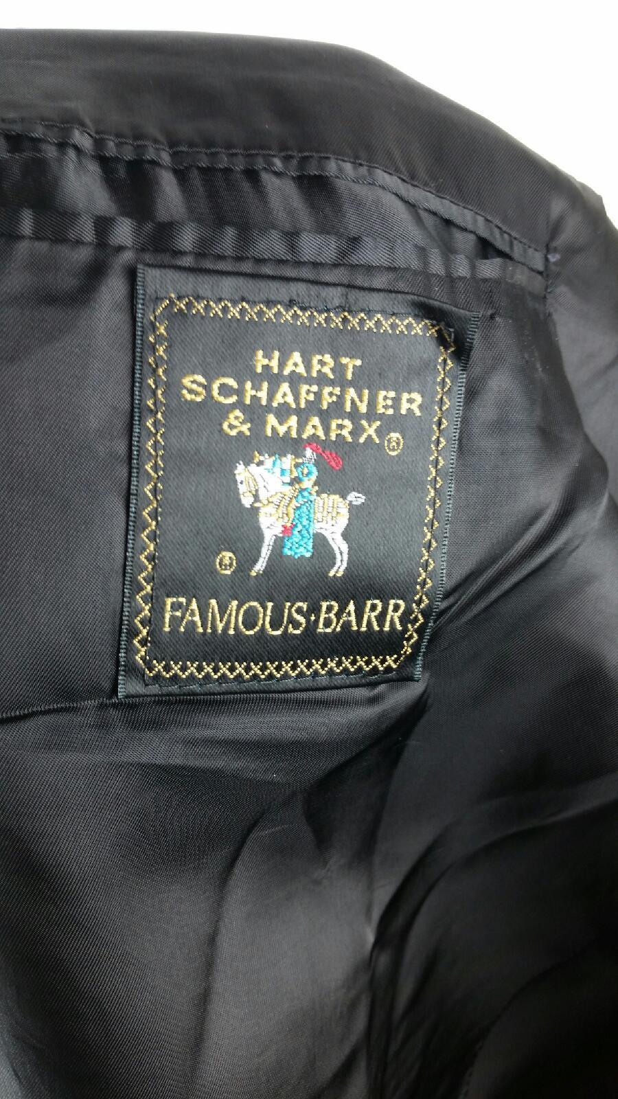 Hart Schaffner & Marx Famous-Barr Veste 48L Veste Famous-Barr Noire 2 Boutons Blazer Laine Vierge 7f4ecd