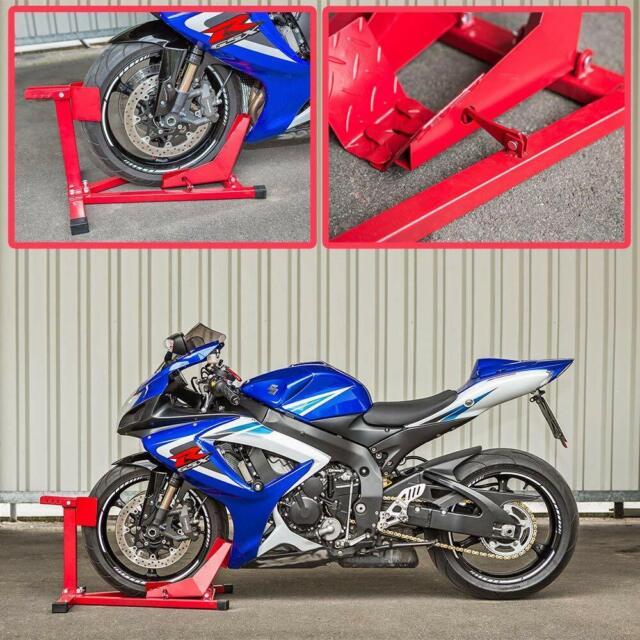 Motorcycle Scooter Front Wheel Chock Motorbike Stand Paddock Garage Transport