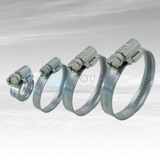 40 Stück 12 mm 16-27mm Schneckengewinde Schlauchschellen Schellen Stahl Verzinkt