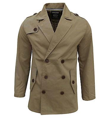 Soul Star Men's Columbia Trench Mac Jacket Coat Tan