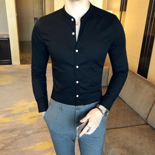 Mens Shirts Tops Single Breasted British Style Tops Slim fit Stand collar Casual