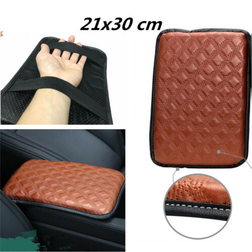 Car Brown Armrest Arm Rest Storage Console Box Top Mat Liner Pad Cover Cushion