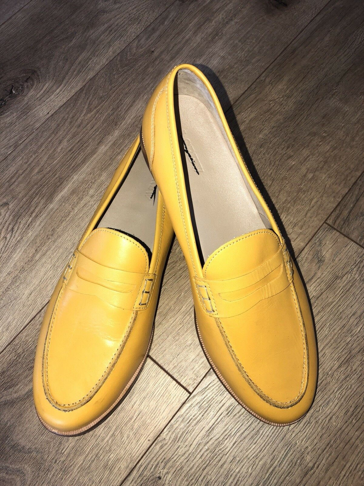 New JCrew Ryan penny loafers Leather Smoky Scarpe 11 Smoky Leather Mustard Yellow H8200 9f03e1