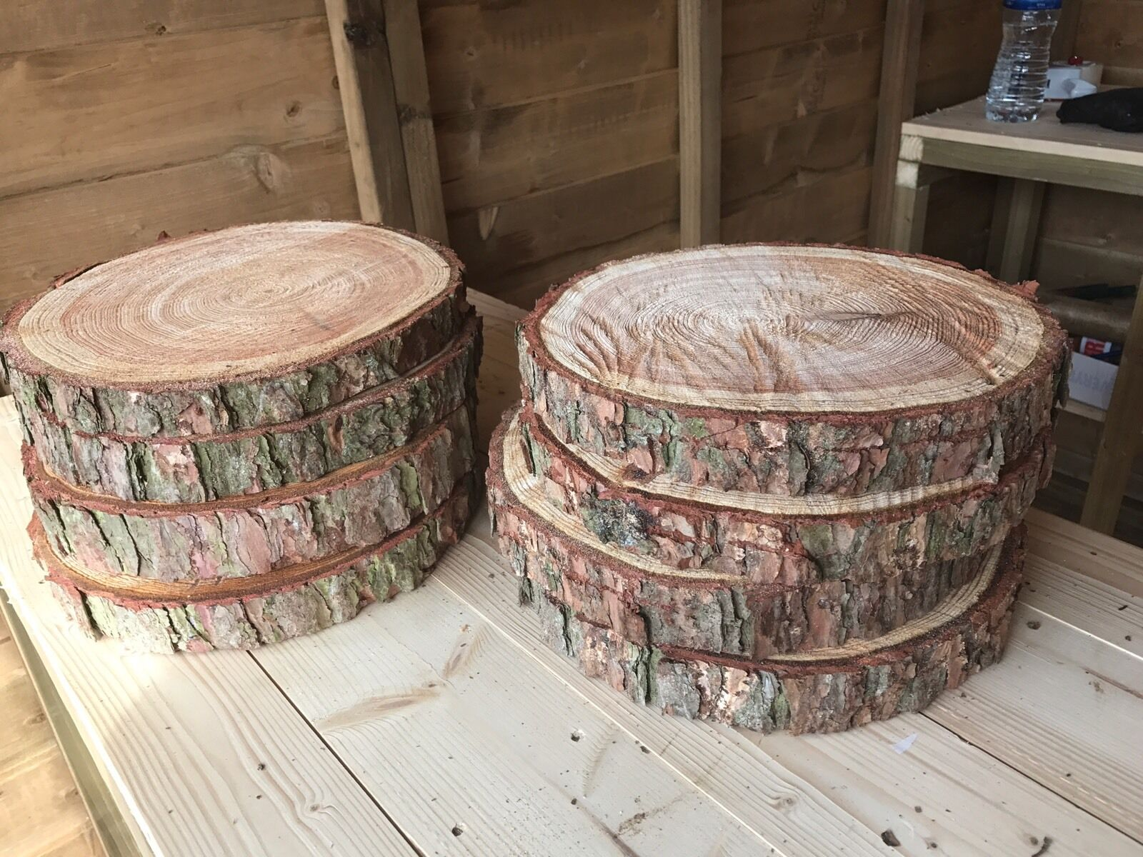 8 Rustic logs approx 10  - 11  (27cm) wedding   table centerpieces, Cake Stands