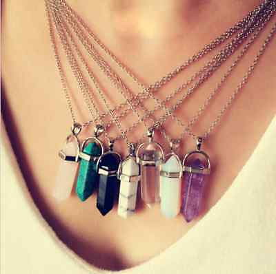 Natural Gemstone Hexagonal Prism Pointed Pendant Silver Beauty Necklace Crystal