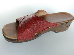 Dansko-Mila-Red-Leather-Mules-Slide-Sandals-Women-039-s-Shoes-Size-41-US-10-5-11
