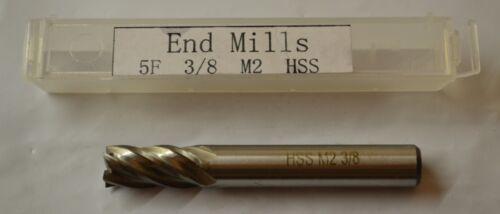 "HSS 3//8/"" Endmill Brand New 5-Flute M2 High Speed Steel End Mill .375/"""
