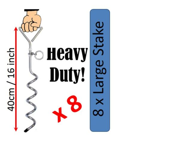 8 x Anchor 40cm long 8mm Thick Steel Ground Anchor Kit Polytunnel Poly Tunnel