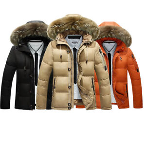 Details zu Hot Winter dicke Männer Herren Daunenjacke Faux Pelzkragen Jacke mit Kapuze Neu
