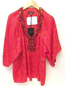 NWT-Andrew-GN-Size-44-Ladies-Silk-And-Glass-Bead-Red-Blouse