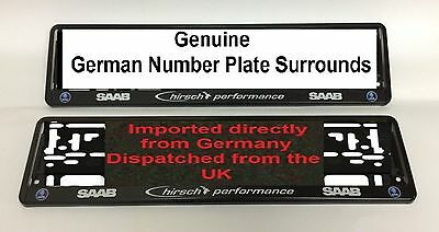 SAAB Hirsch Performance Number plates Surrounds x2 - Pair