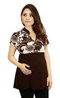 Brown Maternity Blouse Flowers Fairy Contast Pregnancy Clothing Womens Work