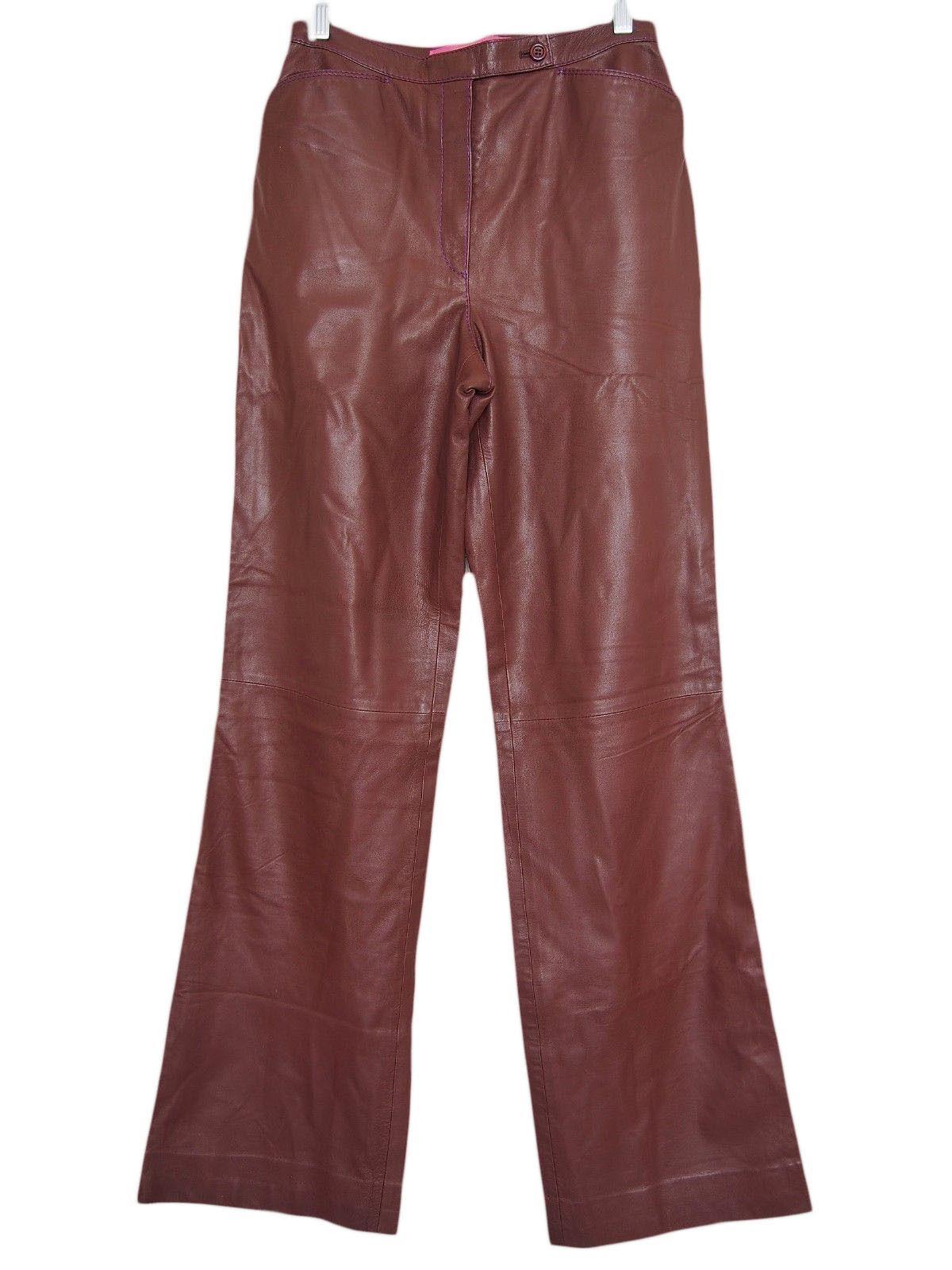 EMANUEL UNGARO Paris Pants Lamb Leather Brown Size 38 US 6
