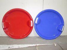 Plastic Round Saucer Snow Sledge Sleagh Ski Toboggan Children Kids Red Blue