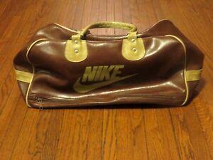 785134a33f VTG 70 s Nike Logo Brown Tan Leather White Tag Duffle Gym Bag Made ...
