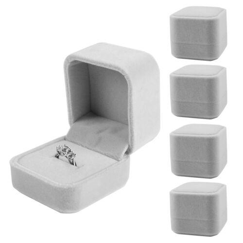 5pk VelvetGift Box Earring Ring Organizer For Wedding Engagement Birthday Gray