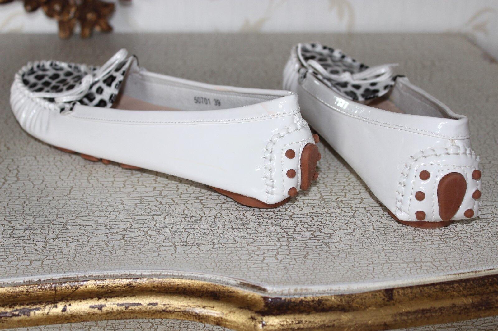 SUPER MODE White & Animal Print Shiny PVC Ladies  Slip on Flat shoes  size 6 NEW