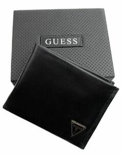Guess-Men-039-s-Leather-Credit-Card-Id-Wallet-Passcase-Bifold-Black-31GU22X030