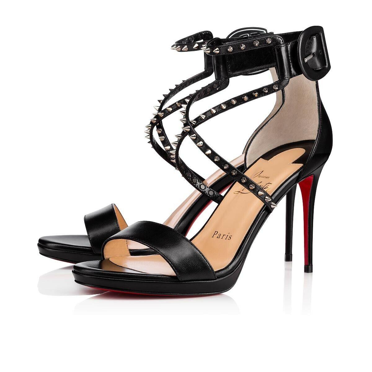 New Christian Louboutin  Choca Kid 100 High Leather donna Sandals Heels Dimensione 41  alto sconto